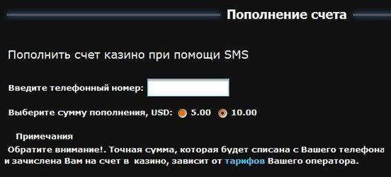 фото Счет за пополнить смс казино в